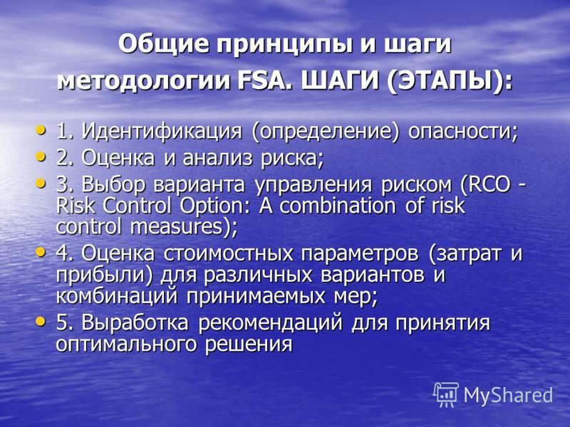 Общие принципы и шаги методологии FSA. ШАГИ (ЭТАПЫ): 1. Идентификация (определение) опасности; 1. Идентификация (определение) опасности; 2. Оценка и анализ риска; 2. Оценка и анализ риска; 3. Выбор варианта управления риском (RCO - Risk Control Optio