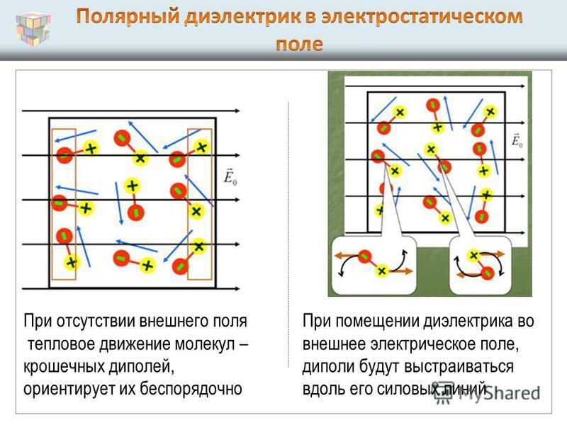 При помещении диэлектрика во внешнее электрическое поле, диполи будут выстраиваться вдоль его силовых линий При отсутствии внешнего поля тепловое движение молекул – крошечных диполей, ориентирует их беспорядочно