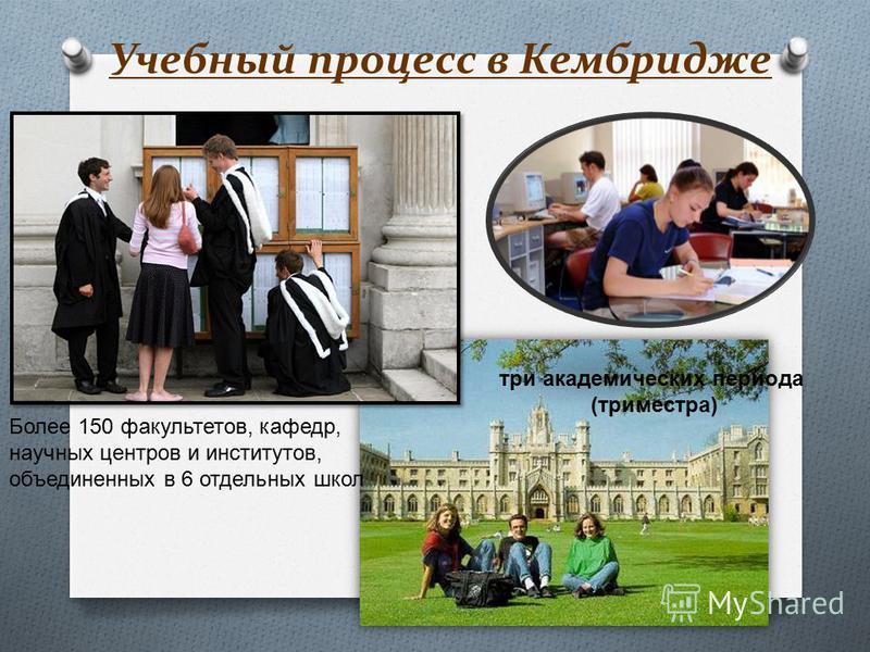 Учебный процесс в Кембридже Более 150 факультетов, кафедр, научных центров и институтов, объединенных в 6 отдельных школ три академических периода ( триместра )