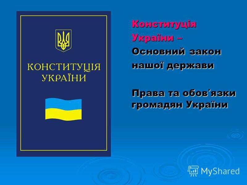 Конституція Конституція України – України – Основний закон Основний закон нашої держави нашої держави Права та обовязки громадян України Права та обовязки громадян України