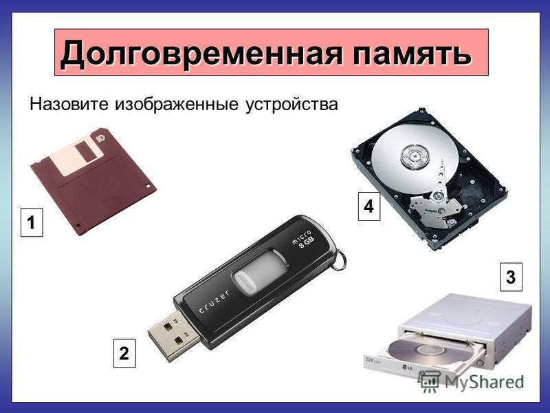 Долговременная память Назовите изображенные устройства 1 2 4 3