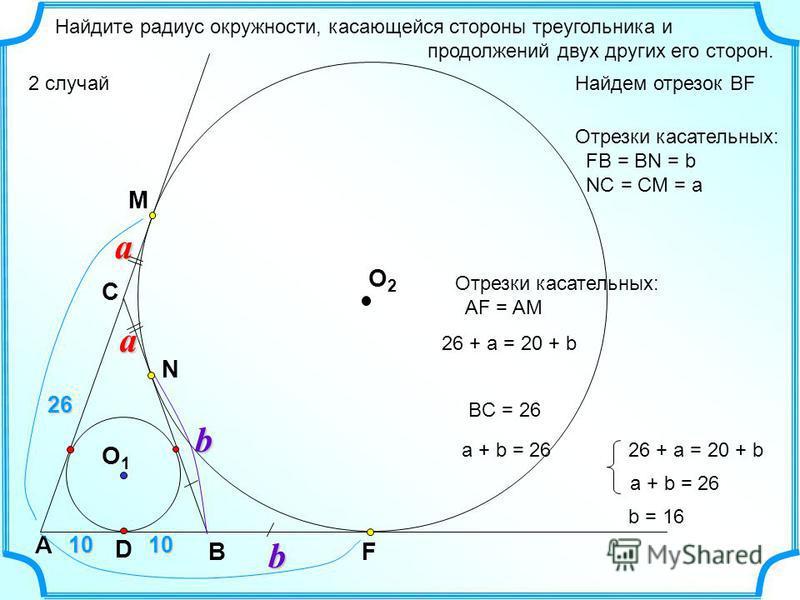 Найдите радиус окружности, касающейся стороны треугольника и продолжений двух других его сторон. 2 случай b А C B O1O1 D a N 26 10 b a Отрезки касательных: FB = BN = b NC = CM = a Отрезки касательных: AF = AM 26 + a = 20 + b a + b = 26 BC = 26 26 + a