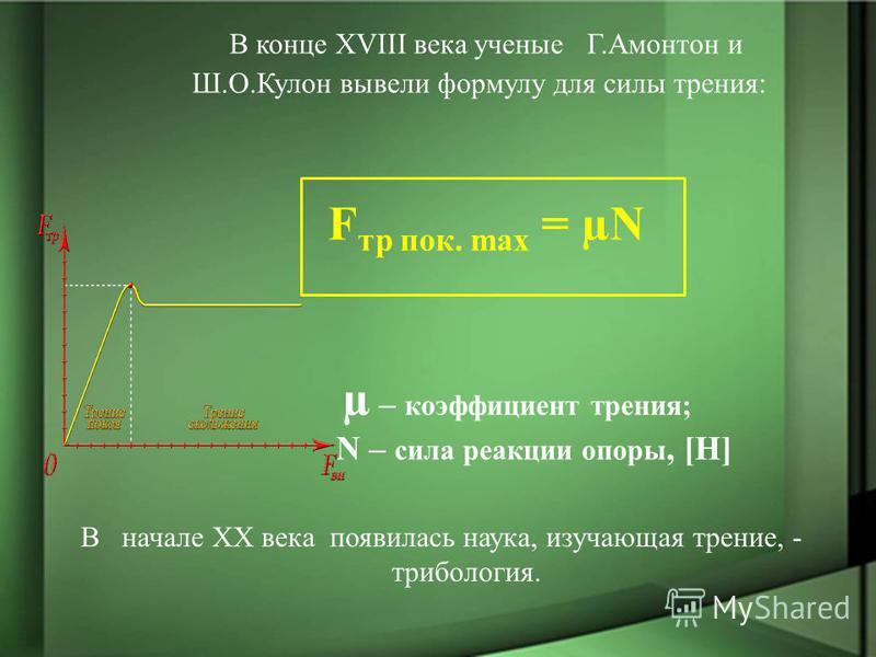 В конце ХVIII века ученые Г.Амонтон и Ш.О.Кулон вывели формулу для силы трения: F тр полк. max = µN µ – коэффициент трения; N – сила реакции опоры, [Н] В начале ХХ века появилась наука, изучающая трение, - трибология.