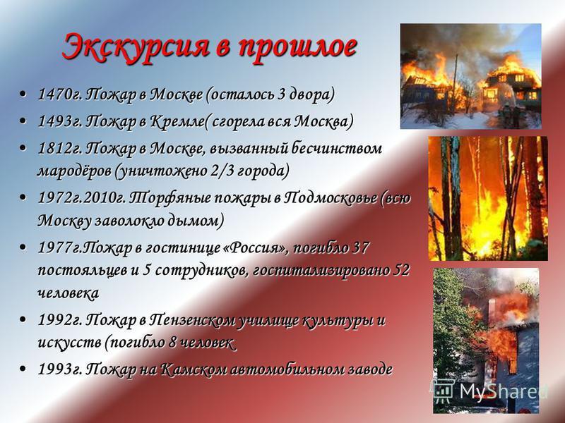 Экскурсия в прошлое 1470 г. Пожар в Москве (осталось 3 двора)1470 г. Пожар в Москве (осталось 3 двора) 1493 г. Пожар в Кремле( сгорела вся Москва)1493 г. Пожар в Кремле( сгорела вся Москва) 1812 г. Пожар в Москве, вызванный бесчинством мародёров (уни