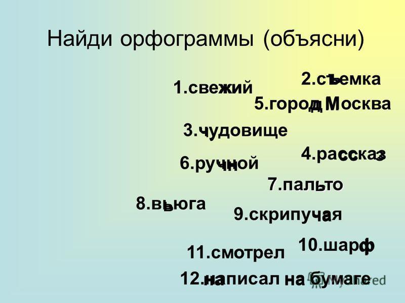 Найди орфограммы (объясни) 1. свежий 3. чудовизе 6. ручной 9. скрипучая 7. пальто 8. вьюга 4. рассказ 11. смотрел 10. шарф 5. город Москва 2. съемка 12. написал на бумаге чу очень ъ дМ ссз ь ча ф на
