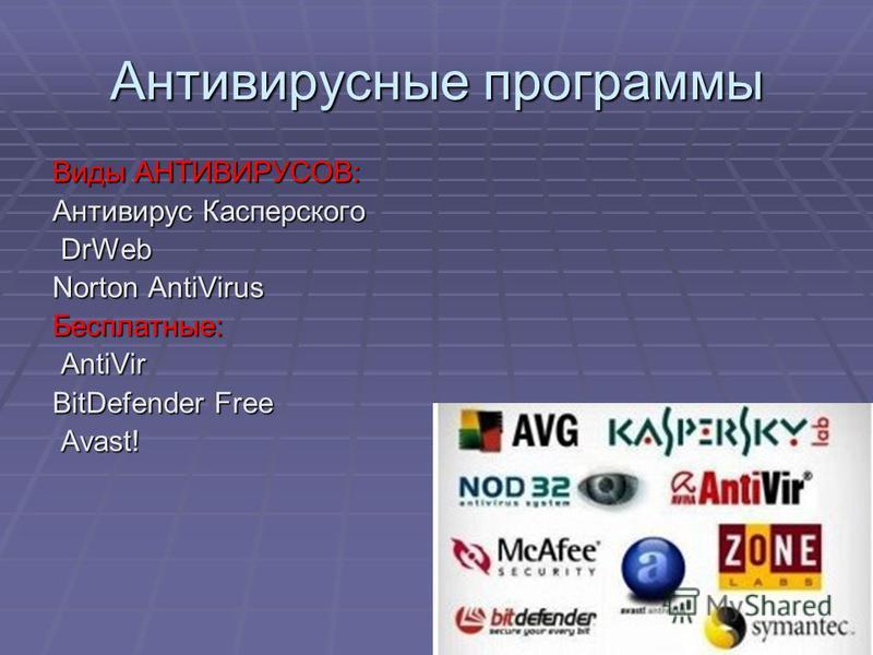 Антивирусные программы Виды АНТИВИРУСОВ: Антивирус Касперского DrWeb Norton AntiVirus Бесплатные: AntiVir BitDefender Free BitDefender Free Avast!