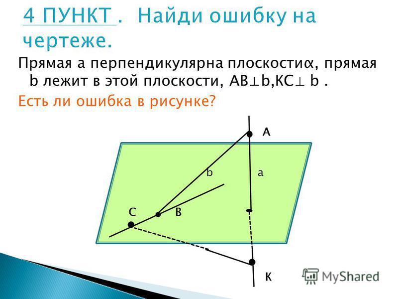 Прямая а перпендикулярна плоскостиα, прямая b лежит в этой плоскости, АВb,КС b. Есть ли ошибка в рисунке? А К b a С В
