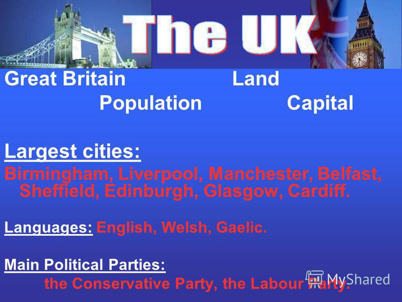 Great Britain Land Population Capital Largest cities: Birmingham, Liverpool, Manchester, Belfast, Sheffield, Edinburgh, Glasgow, Cardiff. Languages: English, Welsh, Gaelic. Main Political Parties: the Conservative Party, the Labour Party.
