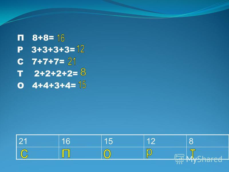 П 8+8= Р 3+3+3+3= С 7+7+7= Т 2+2+2+2= О 4+4+3+4= 211615128