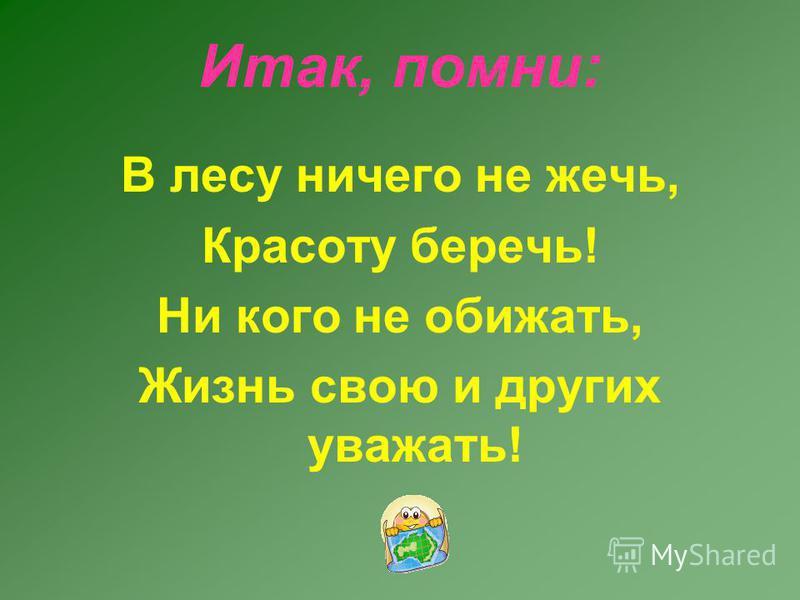 Итак, помни: В лесу ничего не жечь, Красоту беречь! Ни кого не обижать, Жизнь свою и других уважать!