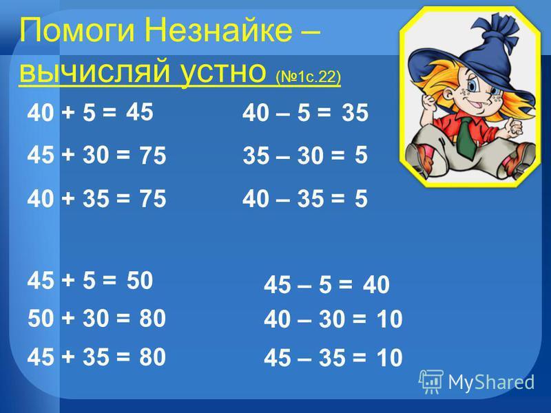 Помоги Незнайке – вычисляй устно (1 с.22) 40 + 5 = 45 + 30 = 40 + 35 = 45 75 45 + 5 = 50 + 30 = 45 + 35 = 50 80 40 – 5 =35 35 – 30 = 5 40 – 35 =5 45 – 5 =40 40 – 30 =10 45 – 35 =10