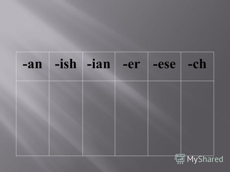 -an-ish-ian-er-ese-ch