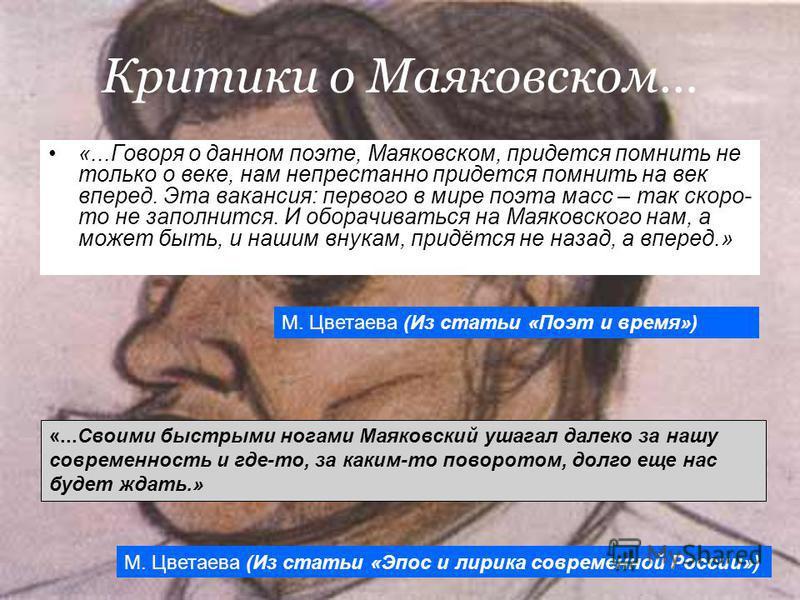 Критики о Маяковском… «...Говоря о данном поэте, Маяковском, придется помнить не только о веке, нам непрестанно придется помнить на век вперед. Эта вакансия: первого в мире поэта масс – так скоро- то не заполнится. И оборачиваться на Маяковского нам,