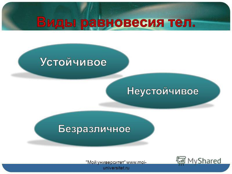 Цель эксперимента: меняя расположение каждого из брусков в стопке, добиться максимально возможного смещения, при котором равновесие не нарушится. Мой университет www.moi- universitet.ru
