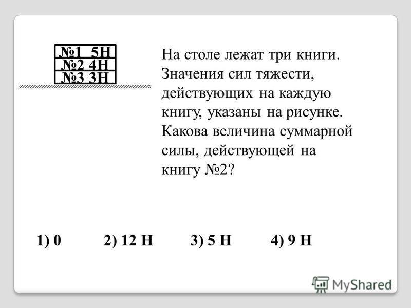 3 3Н 2 4Н 1 5Н На столе лежат три книги. Значения сил тяжести, действующих на каждую книгу, указаны на рисунке. Какова величина суммарной силы, действующей на книгу 2? 1) 02) 12 Н3) 5 Н4) 9 Н 2
