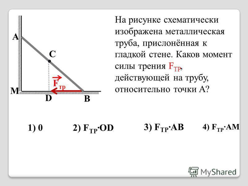 На рисунке схематически изображена металлическая труба, прислонённая к гладкой стене. Каков момент силы трения F TP, действующей на трубу, относительно точки A? 1) 0 2) F ТР ·OD 3) F ТР ·AB 4) F ТР ·AM A M C B D F тр 5