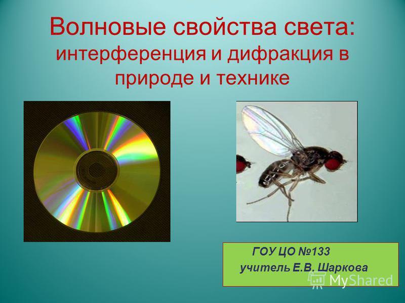 Волновые свойства света: интерференция и дифракция в природе и технике ГОУ ЦО 133 учитель Е.В. Шаркова