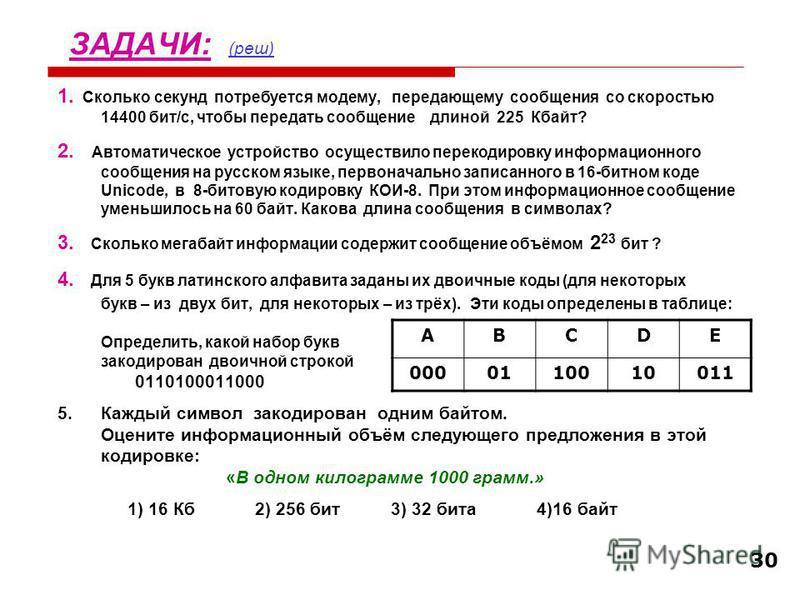 30 ЗАДАЧИ: (реш) (реш) 1. Сколько секунд потребуется модему, передающему сообщения со скоростью 14400 бит/с, чтобы передать сообщение длиной 225 Кбайт? 2. Автоматическое устройство осуществило перекодировку информационного сообщения на русском языке,
