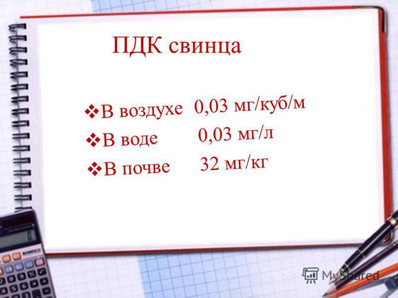 ПДК свинца В воздухе 0,03 мг/куб/м В воде 0,03 мг/л В почве 32 мг/кг