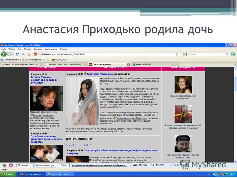 Анастасия Приходько родила дочь