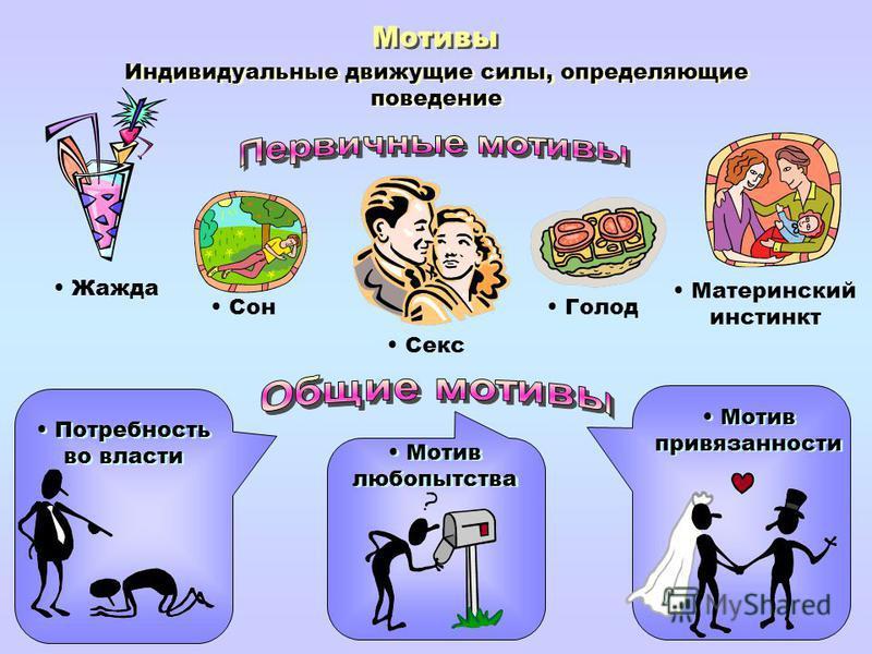 Мотивы Индивидуальные движущие силы, определяющие поведение Жажда Сон Голод Материнский инстинкт Секс Потребность во власти Мотив любопытства Мотив привязанности