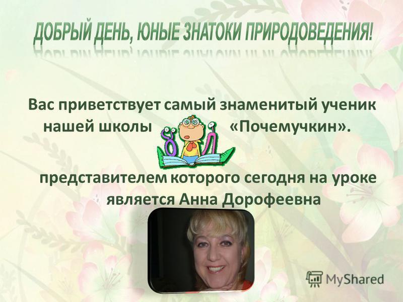 Вас приветствует самый знаменитый ученик нашей школы «Почемучкин». представителем которого сегодня на уроке является Анна Дорофеевна
