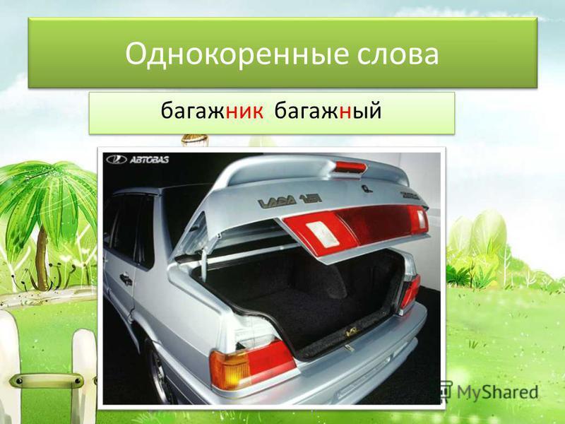 Однокоренные слова багажник багажный