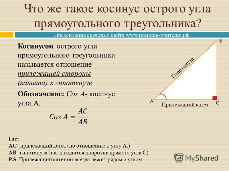 Презентация скачена с сайта www.помощь-учителю.рф Что же такое косинус острого угла прямоугольного треугольника? Прилежащий катет Гипотенуза A B С Где: AC- прилежащий катет (по отношению к углу А.) AB- гипотенуза (т.к. находится напротив прямого угла