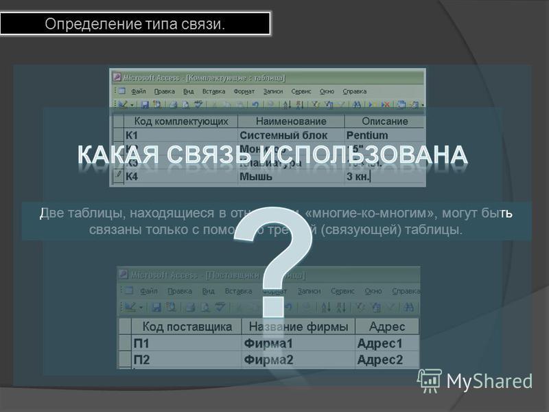 Определение типа связи. Две таблицы, находящиеся в отношении «многие-ко-многим», могут быть связаны только с помощью третьей (связующей) таблицы.
