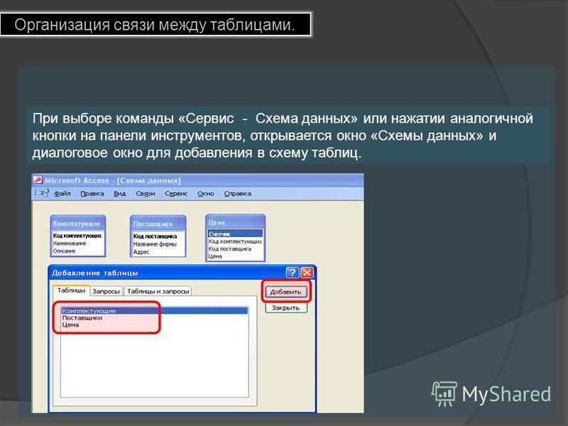 Организация связи между таблицами. При выборе команды «Сервис - Схема данных» или нажатии аналогичной кнопки на панели инструментов, открывается окно «Схемы данных» и диалоговое окно для добавления в схему таблиц.