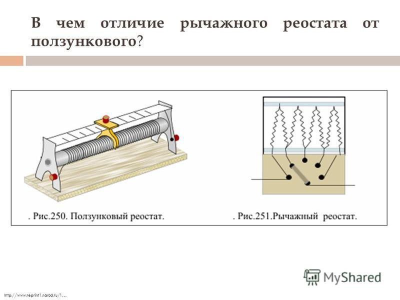 В чем отличие рычажного реостата от ползункового ? http://www.reprint1.narod.ru/1…