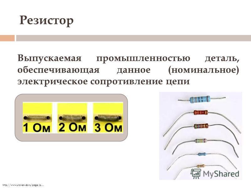 Резистор Выпускаемая промышленностью деталь, обеспечивающая данное (номинальное) электрическое сопротивление цепи http://www.uroven-sb.ru/page/p…