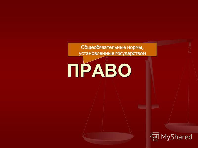 ПРАВО Общеобязательные нормы, установленные государством