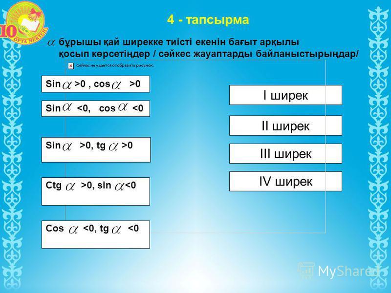 4 - тапсырма бұрышы қай ширекке тиісті екенін бағыт арқылы қосып көрсетіңдер / сәйкес жауаптарды байланыстырыңдар/ І ширек ІІ ширек ІІІ ширек ІV ширек Sin >0, cos >0 Sin >0, tg >0 Sin <0, cos <0 Ctg >0, sin <0 Cos <0, tg <0
