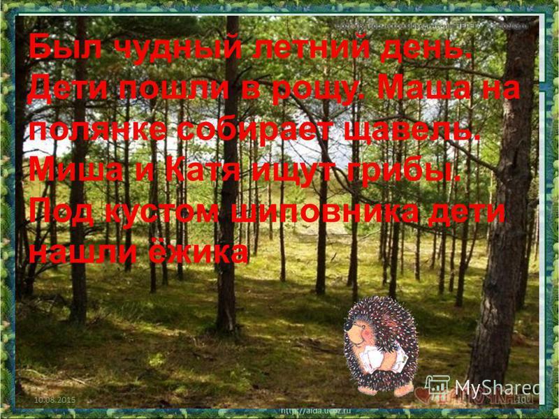 9 Был чудный летний день. Дети пошли в рощу. Маша на полянке собирает щавель. Миша и Катя ищут грибы. Под кустом шиповника дети нашли ёжыка