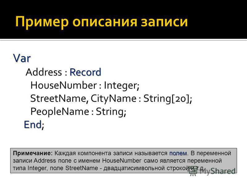 Var Record End Var Address : Record HouseNumber : Integer; StreetName, CityName : String[20]; PeopleName : String; End; полем Примечание: Каждая компонента записи называется полем. В переменной записи Address поле с именем HouseNumber само является п