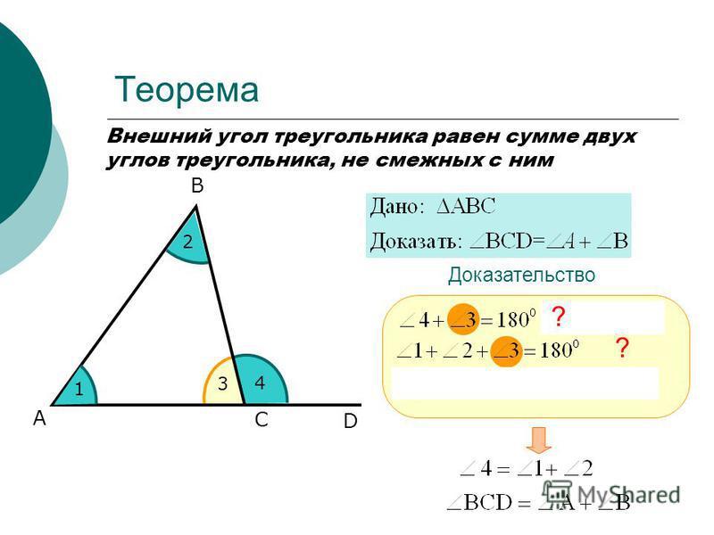 Теорема Внешний угол треугольника равен сумме двух углов треугольника, не смежных с ним А С В Доказательство 3 4 D 1 2 ? ?