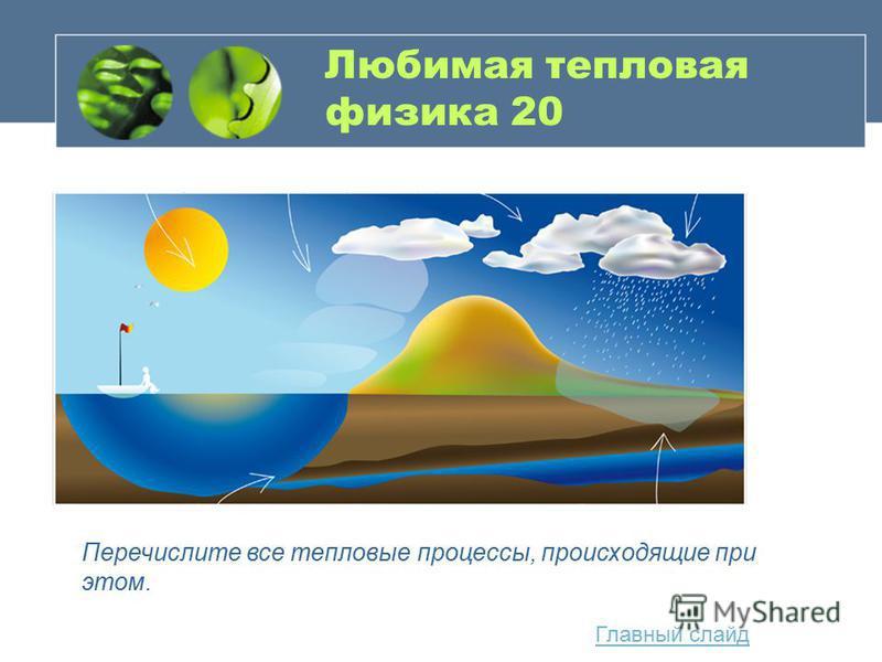 Любимая тепловая физика 20 Главный слайд Перечислите все тепловые процессы, происходящие при этом.