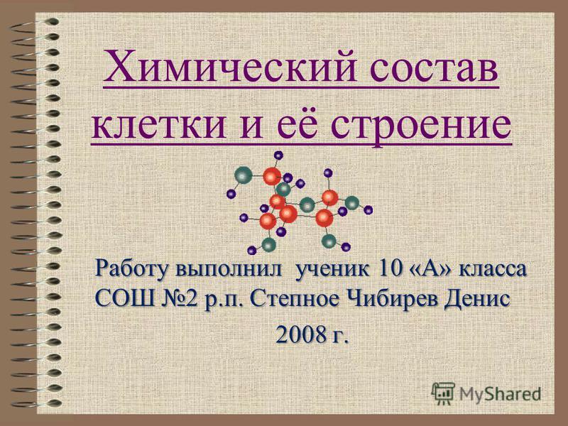 Химический состав клетки и её строение Работу выполнил ученик 10 «А» класса СОШ 2 р.п. Степное Чибирев Денис 2008 г.
