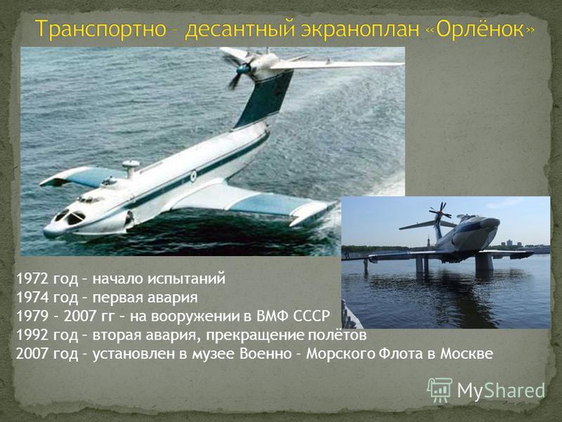 1972 год – начало испытаний 1974 год – первая авария 1979 - 2007 гг – на вооружении в ВМФ СССР 1992 год – вторая авария, прекращение полётов 2007 год - установлен в музее Военно - Морского Флота в Москве