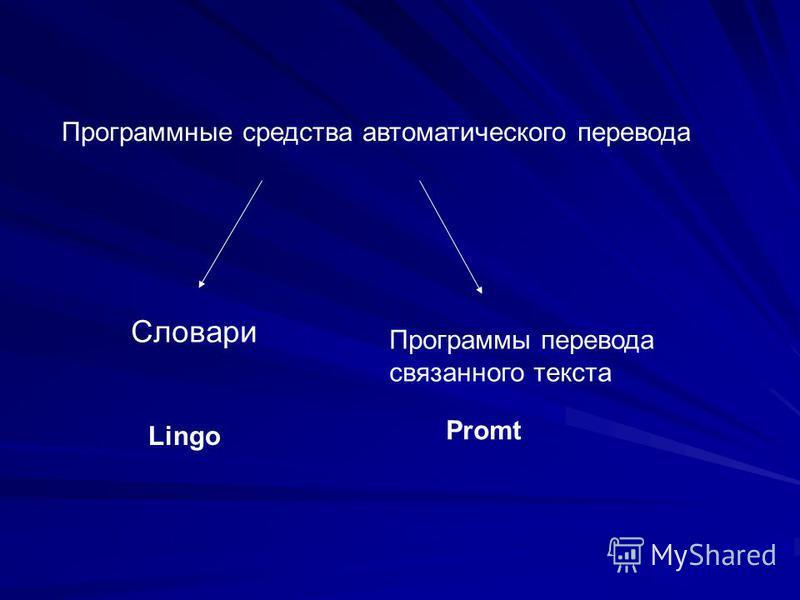 Программные средства автоматического перевода Словари Программы перевода связанного текста Promt Lingo