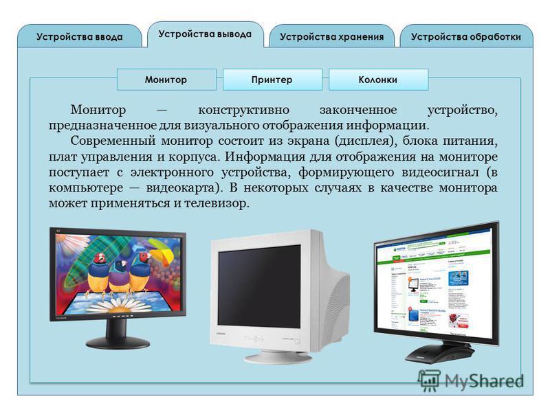 Устройства вывода Устройства ввода Устройства обработки Устройства хранения Монитор ПринтерКолонки Монитор конструктивно законченное устройство, предназначенное для визуального отображения информации. Современный монитор состоит из экрана (дисплея),
