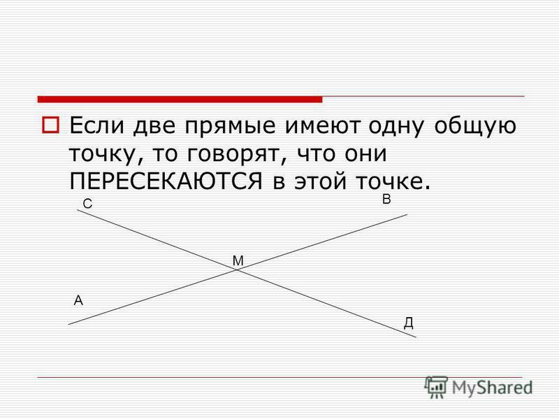 Если две прямые имеют одну общую точку, то говорят, что они ПЕРЕСЕКАЮТСЯ в этой точке. М А В С Д