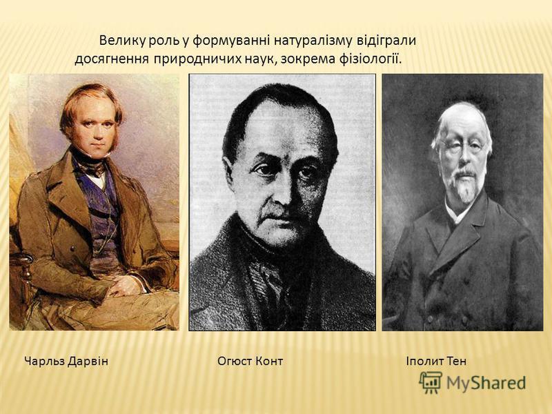 Велику роль у формуванні натуралізму відіграли досягнення природничих наук, зокрема фізіології. Чарльз ДарвінОгюст КонтІполит Тен