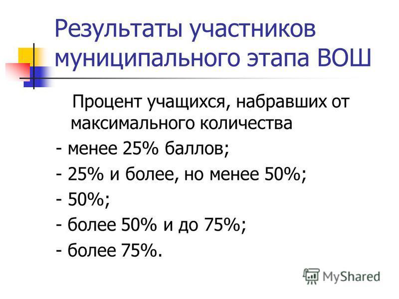 Результаты участников муниципального этапа ВОШ Процент учащихся, набравших от максимального количества - менее 25% баллов; - 25% и более, но менее 50%; - 50%; - более 50% и до 75%; - более 75%.