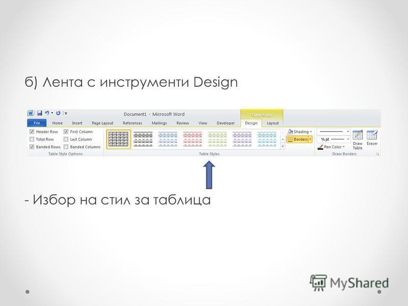 б) Лента с инструменти Design - Избор на стил за таблица