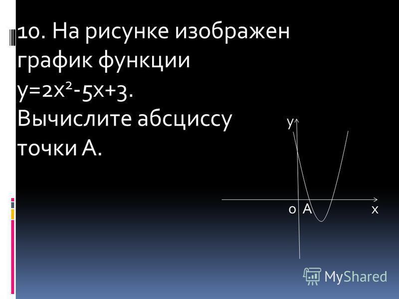 10. На рисунке изображен график функции у=2 х 2 -5 х+3. Вычислите абсциссу у точки А. о А х