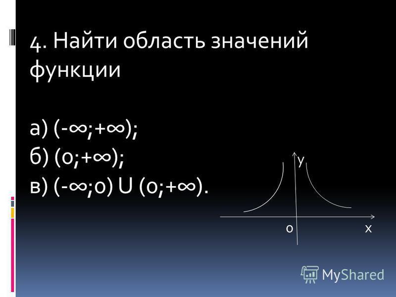4. Найти область значений функции а) (-;+); б) (0;+); у в) (-;0) U (0;+). 0 х