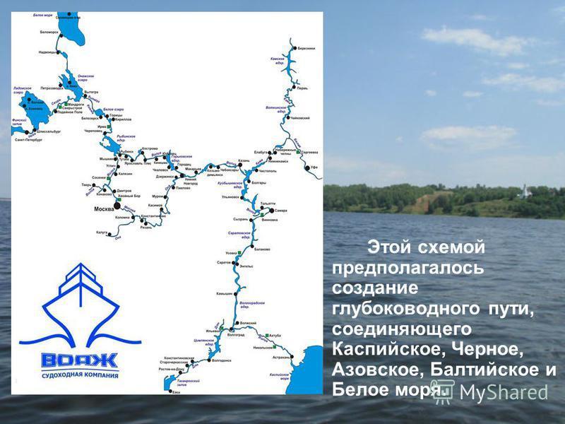 Этой схемой предполагалось создание глубоководного пути, соединяющего Каспийское, Черное, Азовское, Балтийское и Белое моря.