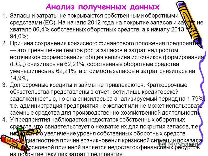 18 Анализ полученных данных 1. Запасы и затраты не покрываются собственными оборотными средствами (ЕС). На начало 2012 года на покрытие запасов и затрат не хватало 86,4% собственных оборотных средств, а к началу 2013 года 94,0%; 2. Причина сохранения